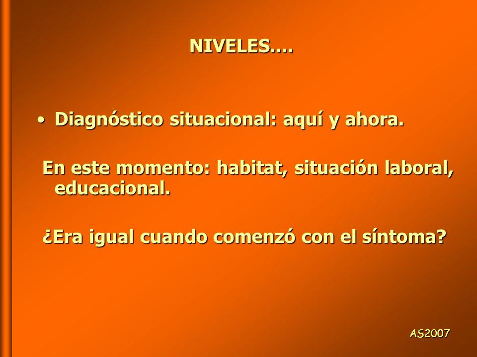 NIVELES.... Diagnóstico situacional: aquí y ahora.