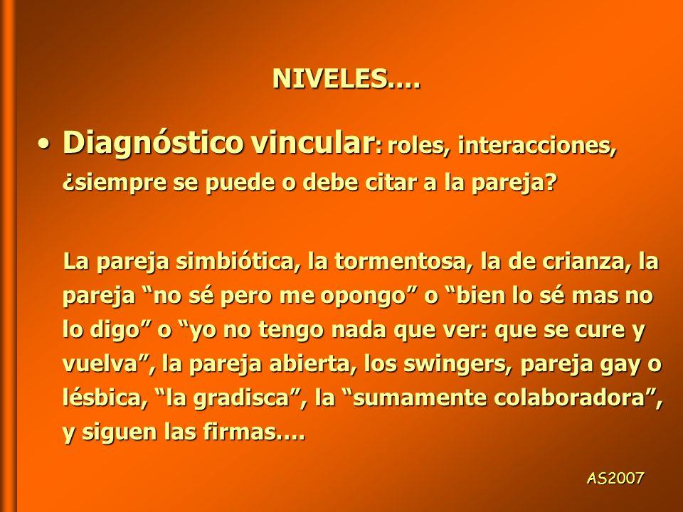 NIVELES.... Diagnóstico vincular: roles, interacciones, ¿siempre se puede o debe citar a la pareja