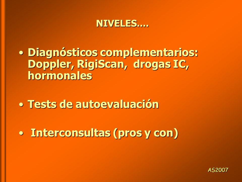 Diagnósticos complementarios: Doppler, RigiScan, drogas IC, hormonales