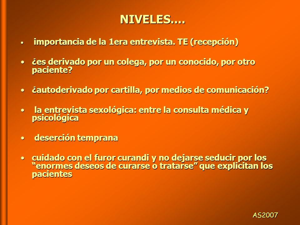 NIVELES.... importancia de la 1era entrevista. TE (recepción) ¿es derivado por un colega, por un conocido, por otro paciente