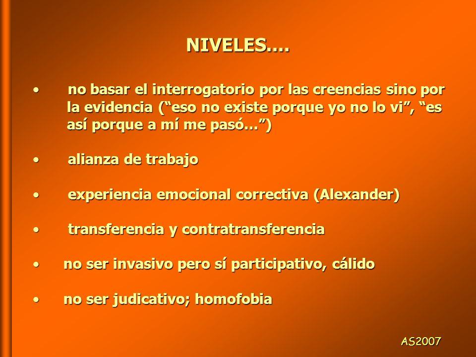 NIVELES.... no basar el interrogatorio por las creencias sino por