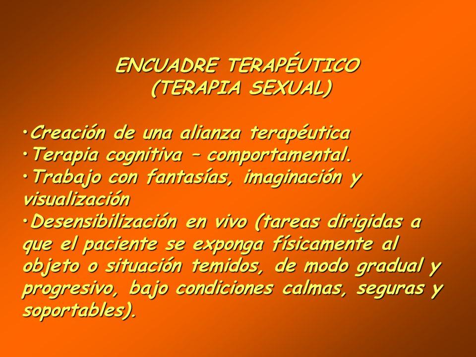 ENCUADRE TERAPÉUTICO (TERAPIA SEXUAL) Creación de una alianza terapéutica. Terapia cognitiva – comportamental.