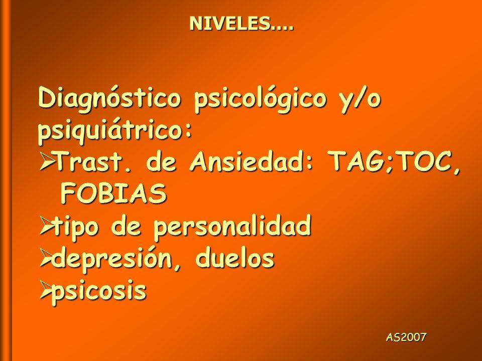 Diagnóstico psicológico y/o psiquiátrico: Trast. de Ansiedad: TAG;TOC,