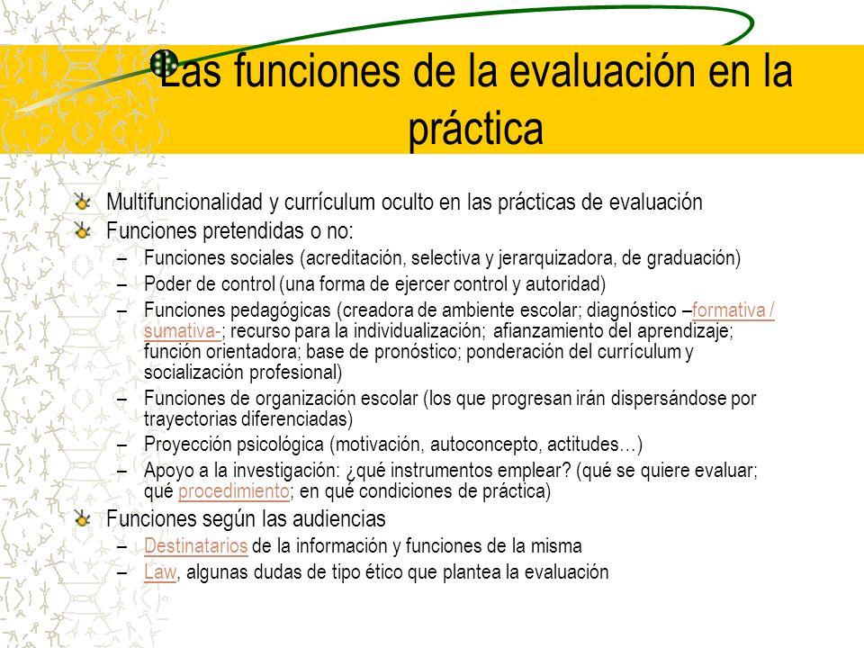 Las funciones de la evaluación en la práctica