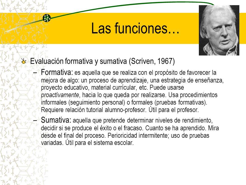 Las funciones… Evaluación formativa y sumativa (Scriven, 1967)