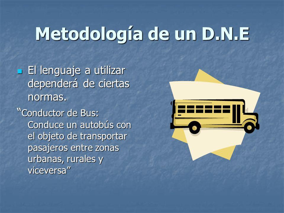 Metodología de un D.N.E El lenguaje a utilizar dependerá de ciertas normas.