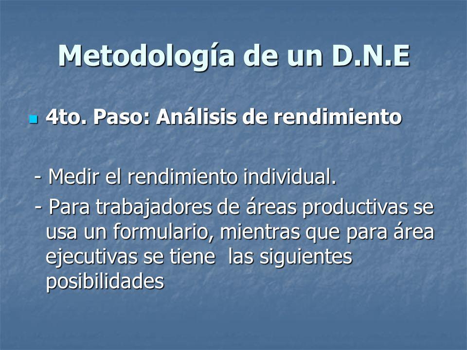 Metodología de un D.N.E 4to. Paso: Análisis de rendimiento
