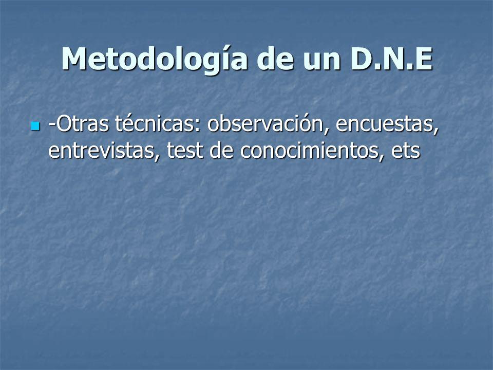 Metodología de un D.N.E -Otras técnicas: observación, encuestas, entrevistas, test de conocimientos, ets.