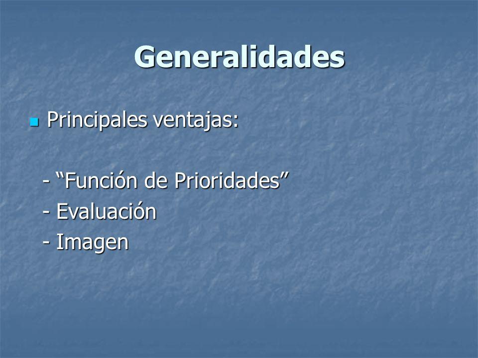 Generalidades Principales ventajas: - Función de Prioridades