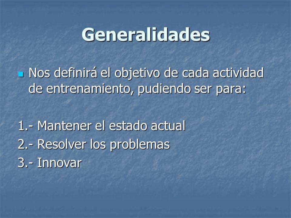 Generalidades Nos definirá el objetivo de cada actividad de entrenamiento, pudiendo ser para: 1.- Mantener el estado actual.