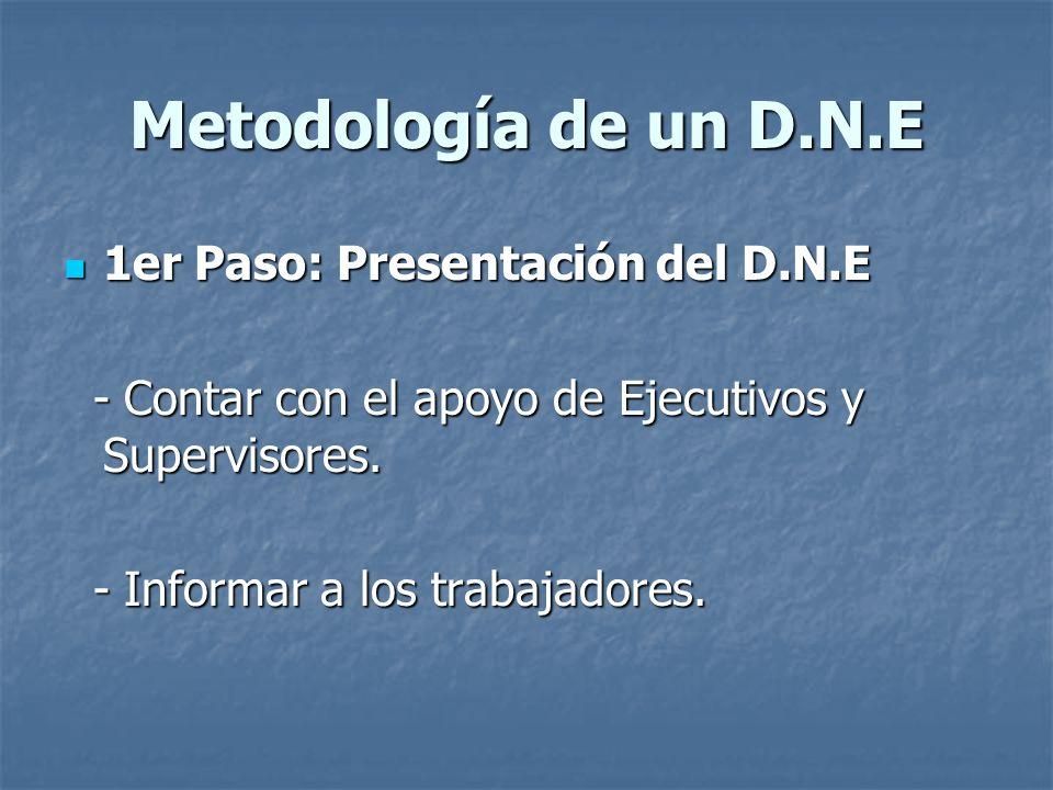 Metodología de un D.N.E 1er Paso: Presentación del D.N.E