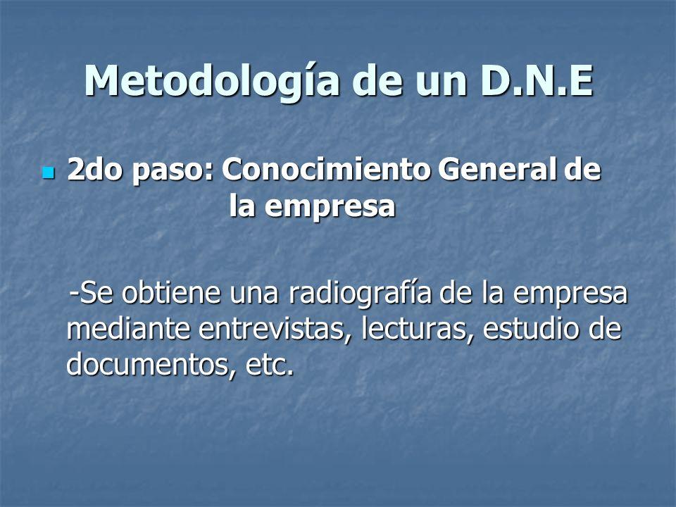 Metodología de un D.N.E 2do paso: Conocimiento General de la empresa