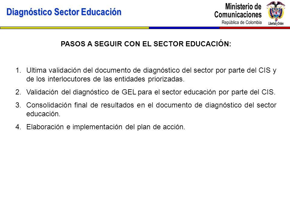 PASOS A SEGUIR CON EL SECTOR EDUCACIÓN: