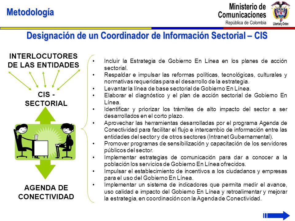 Designación de un Coordinador de Información Sectorial – CIS