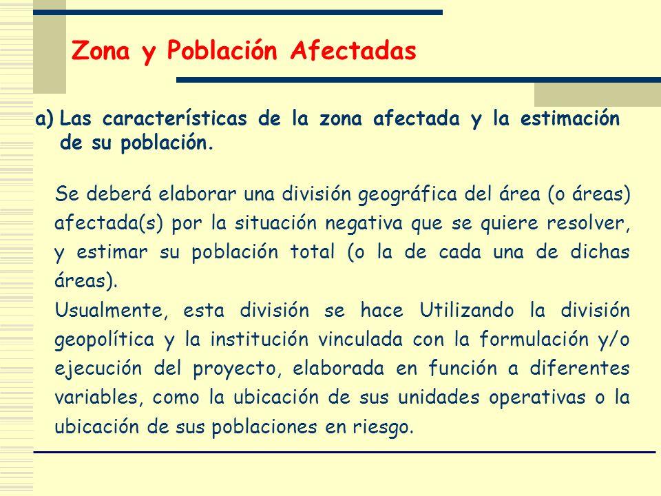 Zona y Población Afectadas