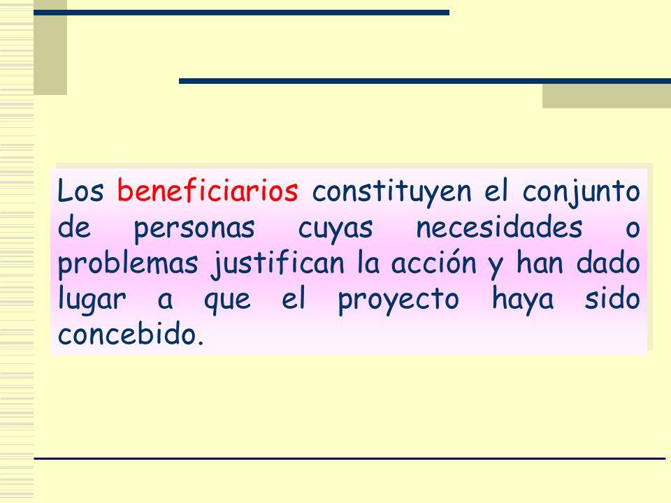Los beneficiarios constituyen el conjunto de personas cuyas necesidades o problemas justifican la acción y han dado lugar a que el proyecto haya sido concebido.