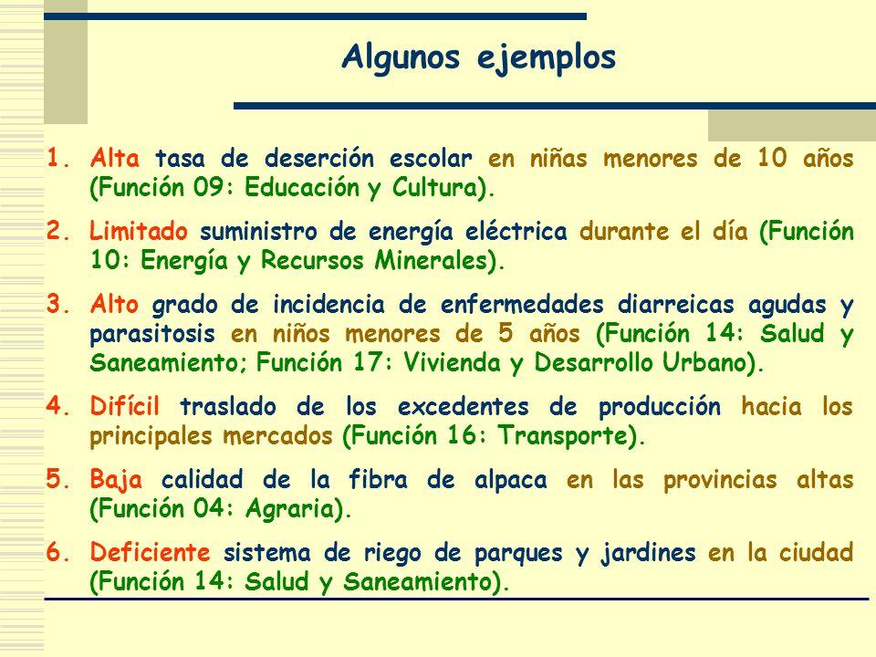 Algunos ejemplos Alta tasa de deserción escolar en niñas menores de 10 años (Función 09: Educación y Cultura).