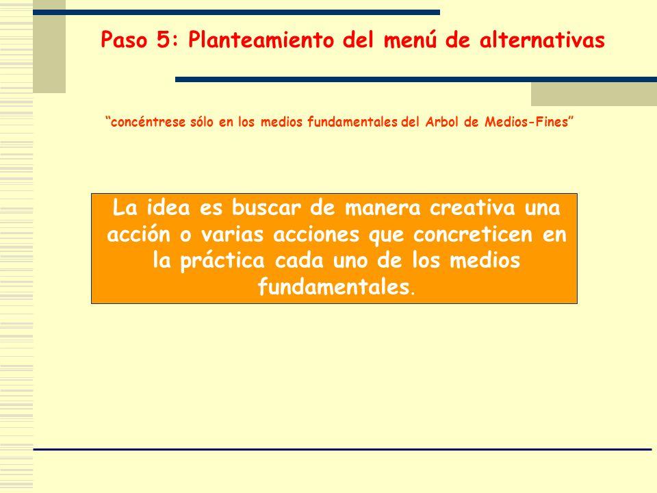 Paso 5: Planteamiento del menú de alternativas