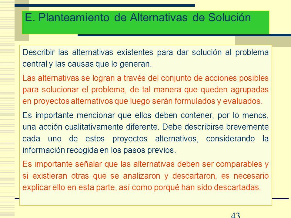 E. Planteamiento de Alternativas de Solución