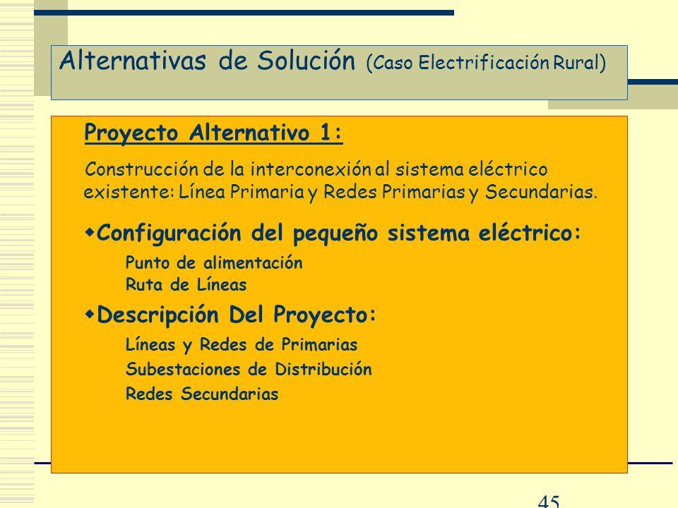 Alternativas de Solución (Caso Electrificación Rural)