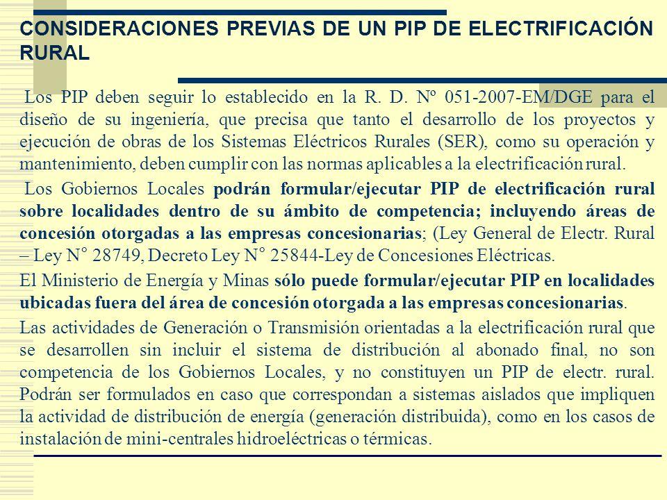 CONSIDERACIONES PREVIAS DE UN PIP DE ELECTRIFICACIÓN RURAL