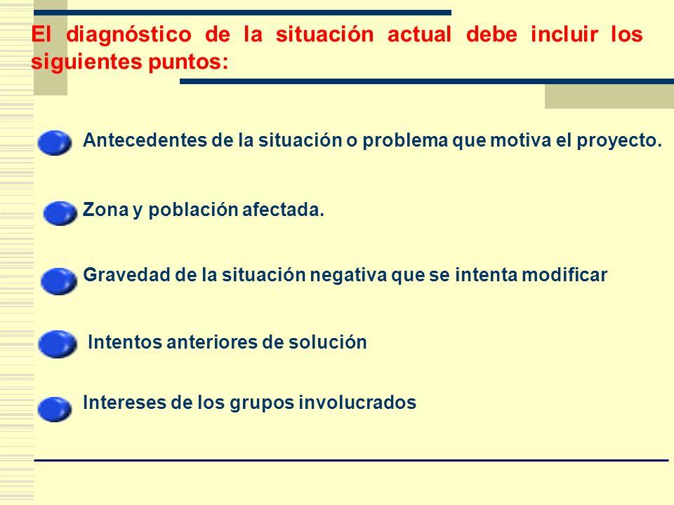 El diagnóstico de la situación actual debe incluir los siguientes puntos:
