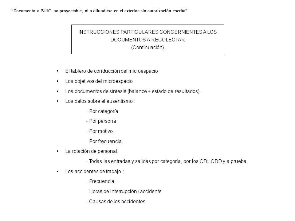 INSTRUCCIONES PARTICULARES CONCERNIENTES A LOS DOCUMENTOS A RECOLECTAR