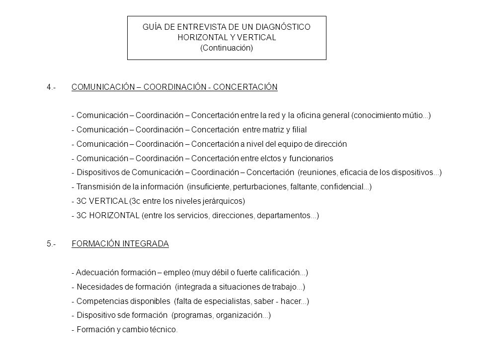 GUÍA DE ENTREVISTA DE UN DIAGNÓSTICO HORIZONTAL Y VERTICAL