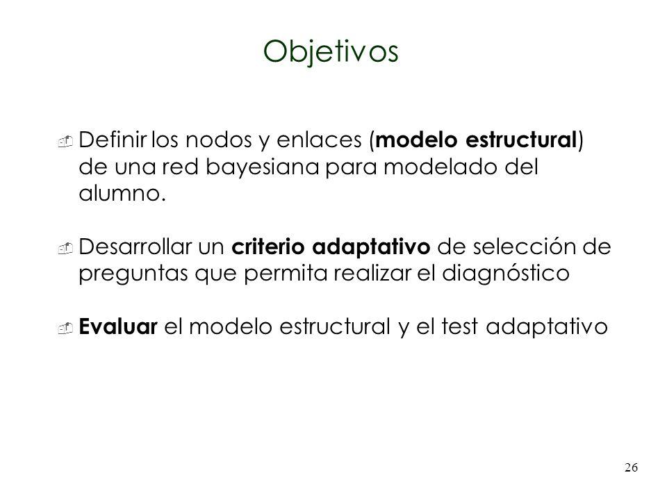 Objetivos Definir los nodos y enlaces (modelo estructural) de una red bayesiana para modelado del alumno.