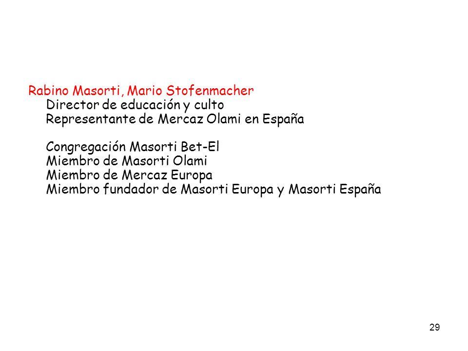 Rabino Masorti, Mario Stofenmacher Director de educación y culto Representante de Mercaz Olami en España Congregación Masorti Bet-El Miembro de Masorti Olami Miembro de Mercaz Europa Miembro fundador de Masorti Europa y Masorti España