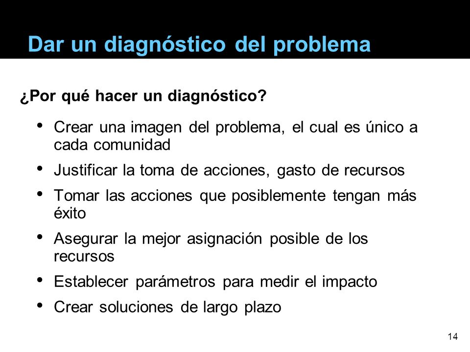 Dar un diagnóstico del problema