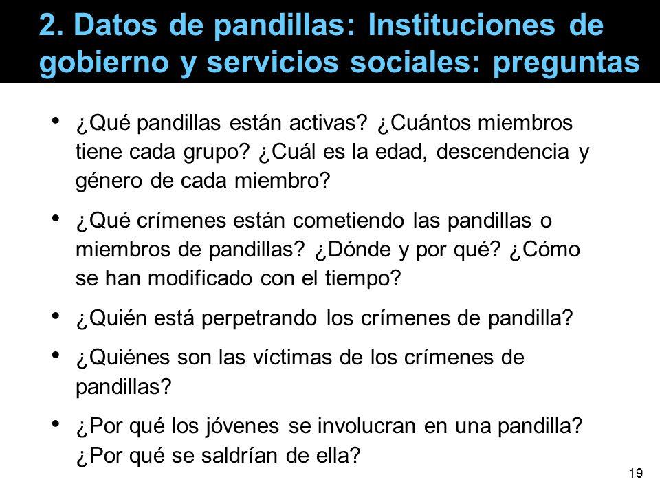2. Datos de pandillas: Instituciones de gobierno y servicios sociales: preguntas