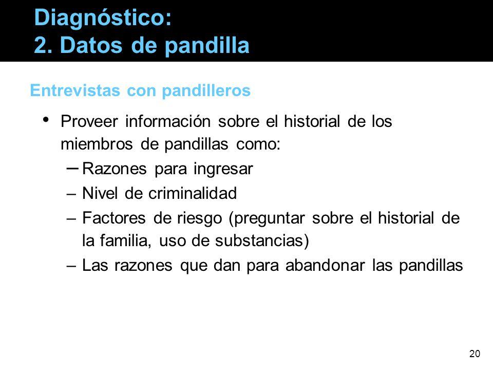 Diagnóstico: 2. Datos de pandilla Entrevistas con pandilleros