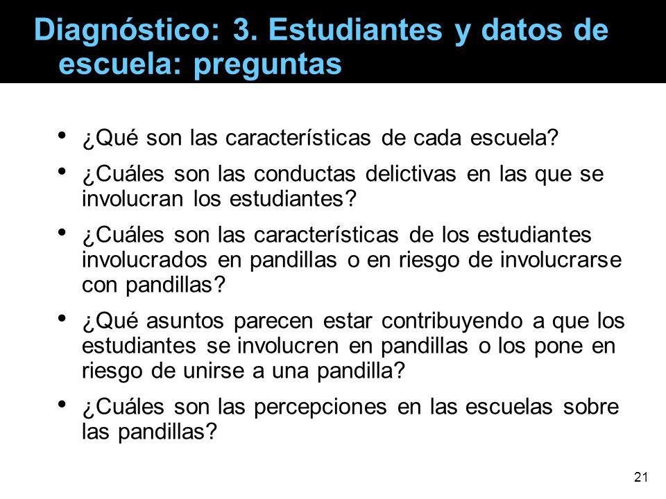 Diagnóstico: 3. Estudiantes y datos de escuela: preguntas