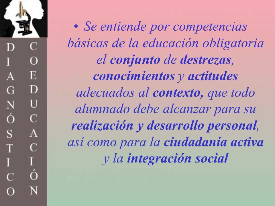 Se entiende por competencias básicas de la educación obligatoria el conjunto de destrezas, conocimientos y actitudes adecuados al contexto, que todo alumnado debe alcanzar para su realización y desarrollo personal, así como para la ciudadanía activa y la integración social
