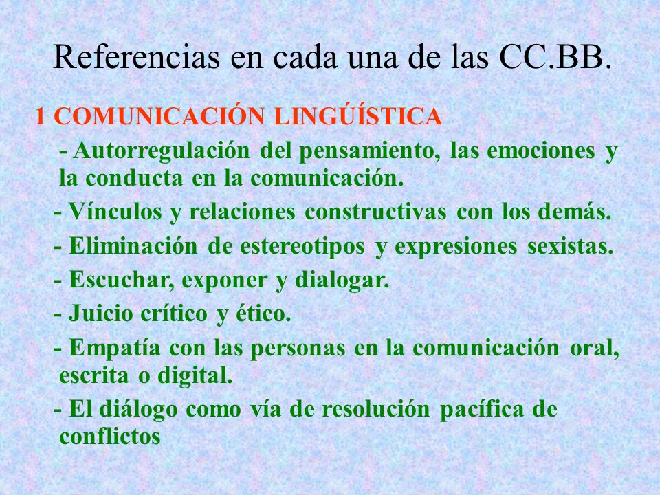 Referencias en cada una de las CC.BB.