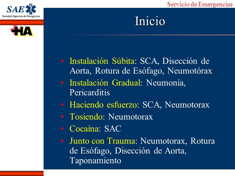 Inicio Instalación Súbita: SCA, Disección de Aorta, Rotura de Esófago, Neumotórax. Instalación Gradual: Neumonía, Pericarditis.