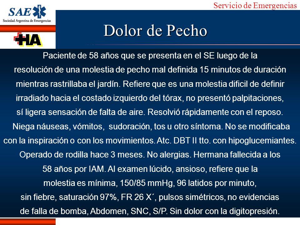 Dolor de Pecho Paciente de 58 años que se presenta en el SE luego de la. resolución de una molestia de pecho mal definida 15 minutos de duración.