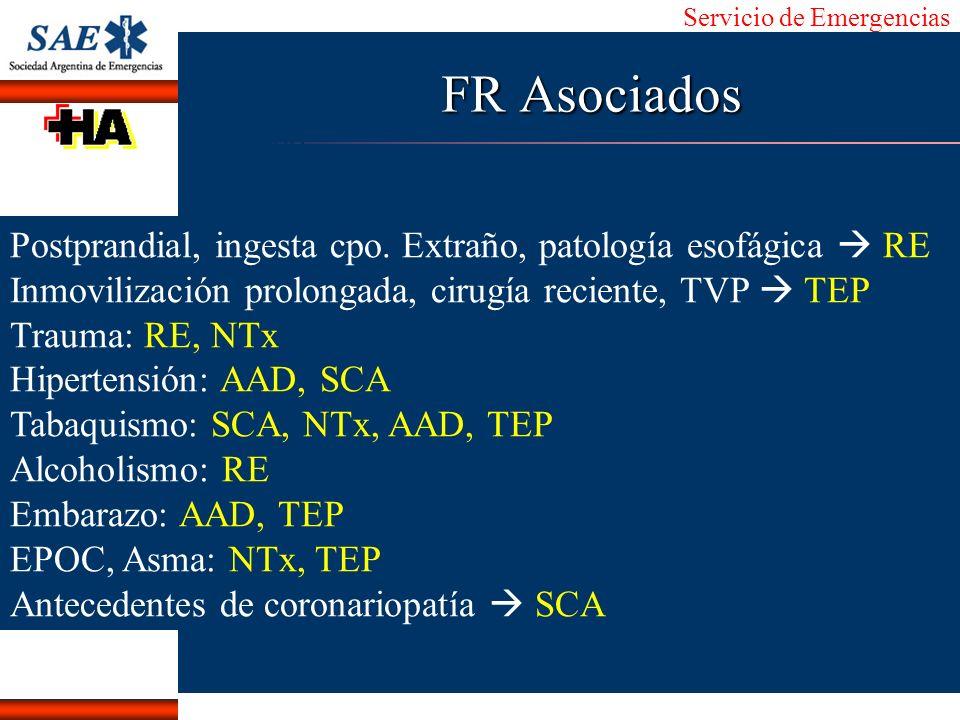 FR Asociados Postprandial, ingesta cpo. Extraño, patología esofágica  RE. Inmovilización prolongada, cirugía reciente, TVP  TEP.