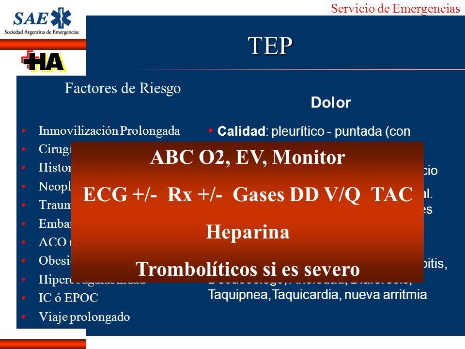 ECG +/- Rx +/- Gases DD V/Q TAC Trombolíticos si es severo