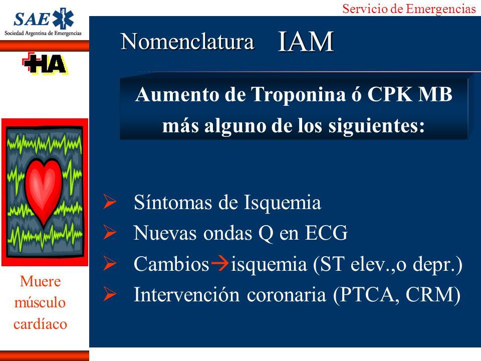 Aumento de Troponina ó CPK MB más alguno de los siguientes: