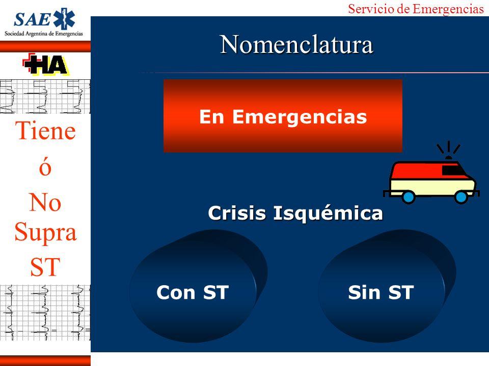 Nomenclatura Tiene ó No Supra ST En Emergencias Crisis Isquémica
