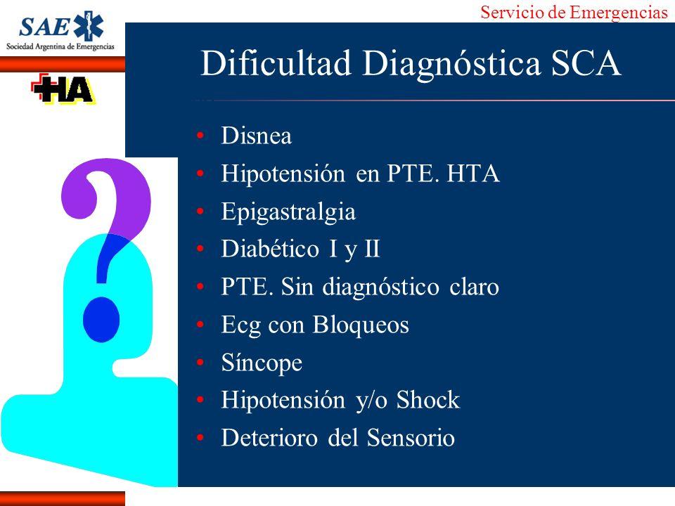 Dificultad Diagnóstica SCA