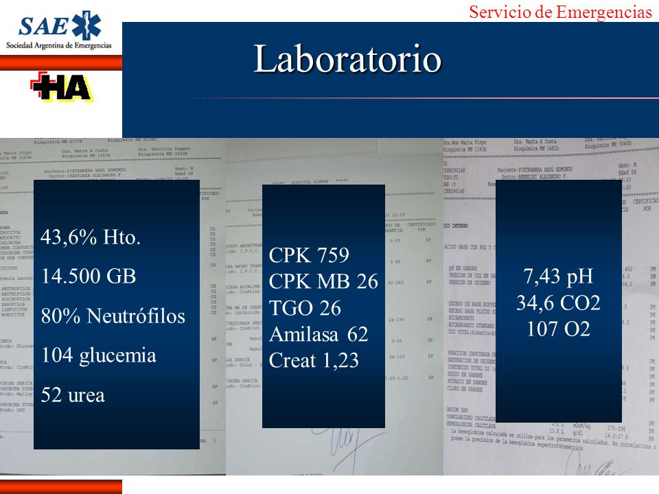 Laboratorio 43,6% Hto. 14.500 GB 80% Neutrófilos 104 glucemia 52 urea