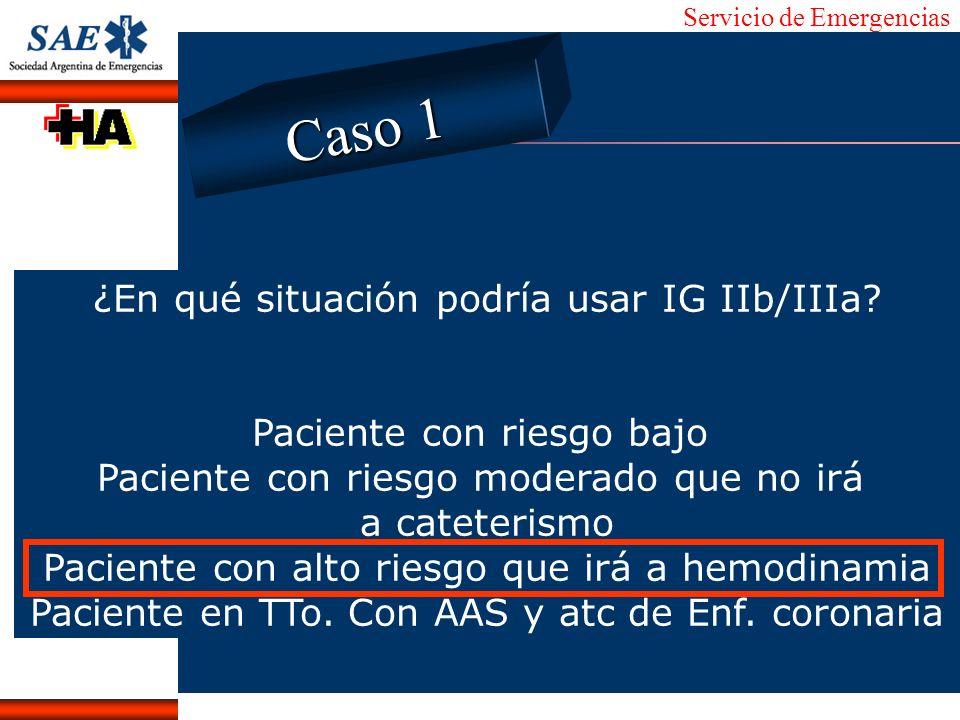 Caso 1 ¿En qué situación podría usar IG IIb/IIIa