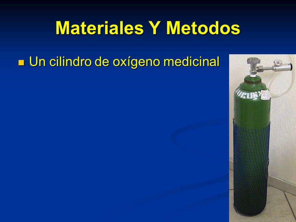 Materiales Y Metodos Un cilindro de oxígeno medicinal