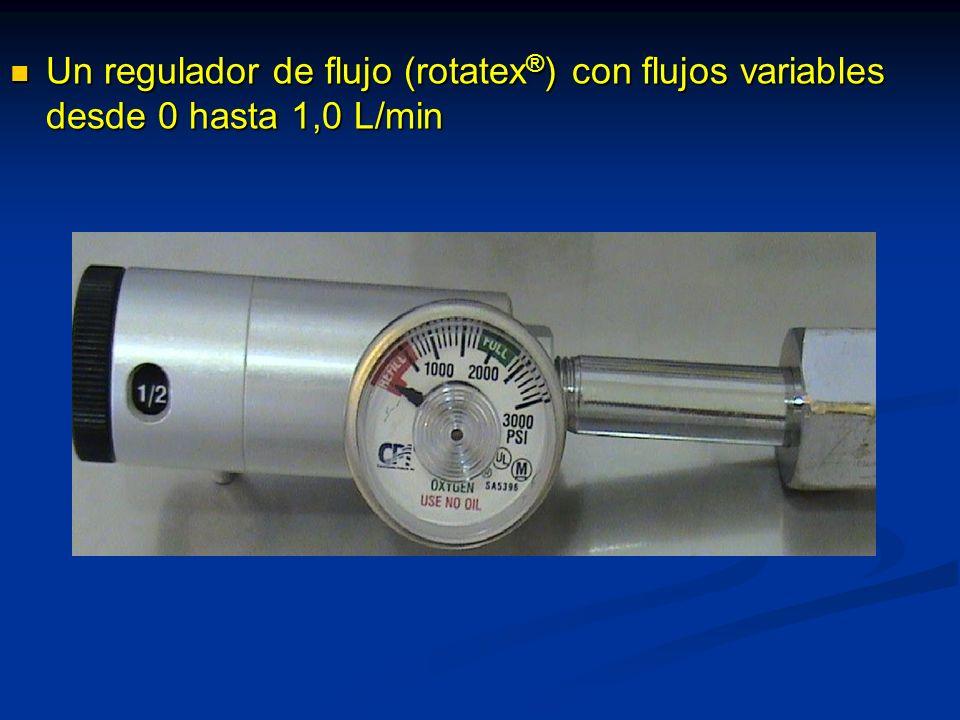 Un regulador de flujo (rotatex®) con flujos variables desde 0 hasta 1,0 L/min