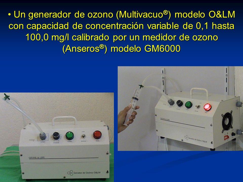 Un generador de ozono (Multivacuo®) modelo O&LM con capacidad de concentración variable de 0,1 hasta 100,0 mg/l calibrado por un medidor de ozono (Anseros®) modelo GM6000