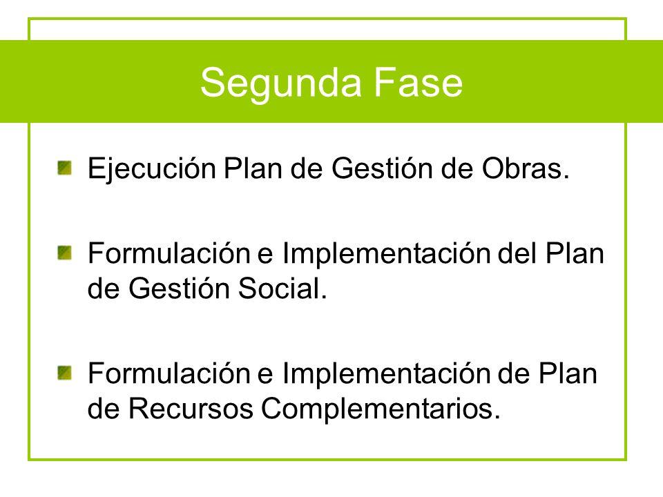 Segunda Fase Ejecución Plan de Gestión de Obras.