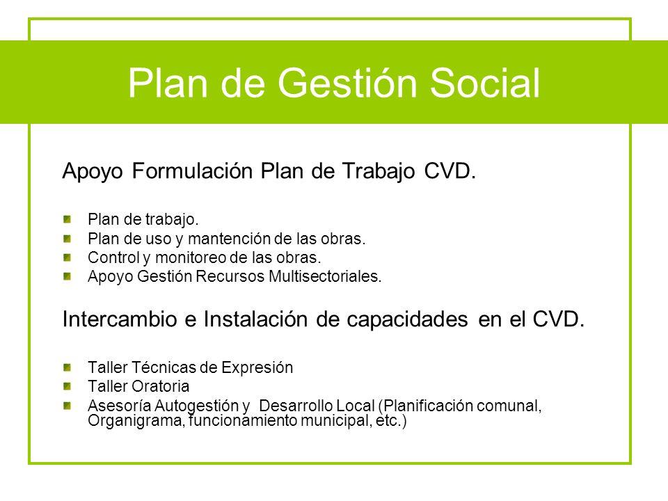 Plan de Gestión Social Apoyo Formulación Plan de Trabajo CVD.